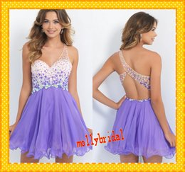 Wholesale 2015 New Arrival Purple Short Homecoming Dresses Sequins One Shoulder Crystal Bodice Backless Corset Prom Dresses Graduation Dress Formal