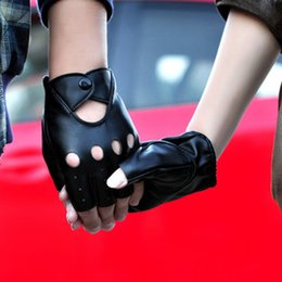 Wholesale New Hollow Out Fashion PU Half Finger Lady Leather Lady s Fingerless Driving Show Jazz Gloves for Women Men