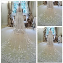 Wholesale Hot Wedding Veils Long Crystal Veil With Lace Bridal Veils Beauty One Layer Long Cathedral Wedding Accessories