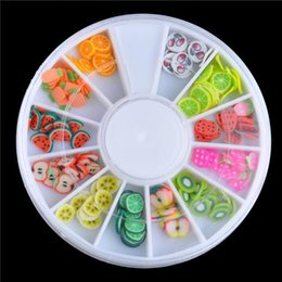 Wholesale 100boxes sets D Mixed Fimo Clay Nail Art Tips Slice Acrylic Decoration Manicure Wheel Fruits Shape Nail Stickers Polish