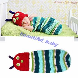 Wholesale Hot Sale Striped Caterpillar Baby Crochet Hats and Cocoon Sets Handmade Infant Photography Props Costume Outfits