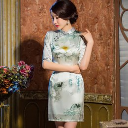 Wholesale 2015 fashion young man New silk cheongsam autumn half sleeve without slit short sleeve with slit double layer silk vintage style