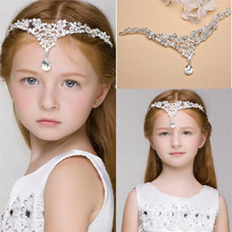 Wholesale 2015 Luxury Crystal Children Hair Accessories Rhinestone Girls Head Pieces Junior Bridesmaid Bride Wedding Accessories Headband Hairwear