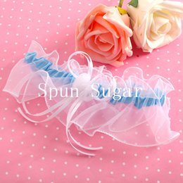 Wholesale 2015 NEW White Lace Style With Blue Bowknot Garters Individuation Bridal Garter for Wedding Retails