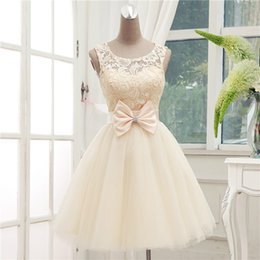 Wholesale New Princess A Line Champagne Lace Sleeveless Bridesmaid Dress Sweet Elegant Prom Party Dress Homecoming Dresses Customize Free