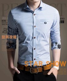 Gros-Floral Cuff 6 Couleur Man Shirt broderie Logo 100% Coton Couleur unie Homme Tops BusinessCasual shirtdress For Men