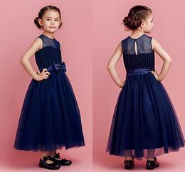 Discount Kids Long Navy Blue Dress  2017 Kids Long Navy Blue ...