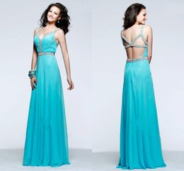 Wholesale Beaded A Line Aqua Chiffon Prom Dresses V neck Sleeveless Made to Order Lovely Formal Gowns Dresses XS