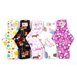 Wholesale 5pc inches Bamboo charcoal Cloth Menstrual Pads Heavy Flow Waterproof Reusable Menstrual Pds for Women Washable Sanitary Napkin Pads