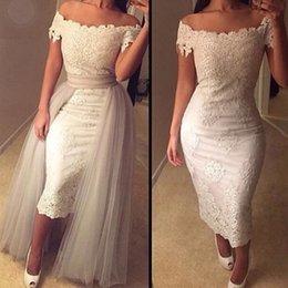 Wholesale Gorgeous lace Wedding Dress Elegant Cap Sleeves Boho Lace Bridal Dresses with Detachable Skirt