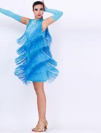 Wholesale Latin Dancing Dresses Tassels Latin Dancing Skirts Dancing Dresses Sexy Tassels Skirts Latin Dancing Tassels Skirts Rhinestone Latin Dresses