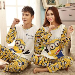 Wholesale Lovers sleepwear spring autumn long sleeve cartoon lovers home clothing couples matching pajamas adult minion pajamas sets