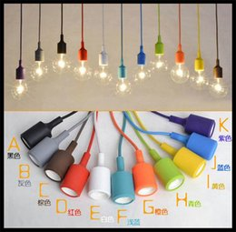 Art Decor Silicone E27 Home Ceiling Pendant Lamp Light Bulb Holder Hanging Fixture base Socket American Modern retro single head Colorful from modern led hanging light fixtures manufacturers