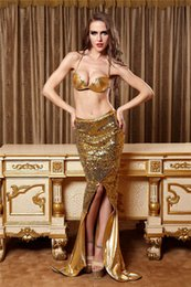 Wholesale Newest Gold Mermaid Sexy Underwear Bra Lingerie Halloween Costumes for sexy Ladies Catsuit Cosplay RPG Role Playing Clothes