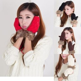 Wholesale Plush Mittens Gloves Winter Knit Wool Thicken Warm Glove Woman Girl Lady Daughter Christmas Gifts Halter Neck Snow glove