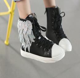 Wholesale 2016 automne Enfants Enfants chaussures causal shoes flats Luxe ailes de diamant haute help fashion Filles Princess chaussures Sneakers