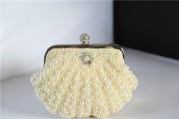 Wholesale Two Chains Women Pearl Evening Bag Clutch Gorgeous Bridal Wedding Party Bag Party Wedding Handbag Purse