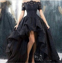 Wholesale Charming Marsala Boat Neck Corset Ball Gown Black High Low Lace Long Prom Dresses Zipper Up Court Train
