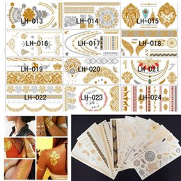 Wholesale 48 Kinds Style Design New Metallic Gold Body Art Temporary Tattoo Sexy Non Toxic Waterproof Flash Tattoos Sticker Bling Bling Flash Tats