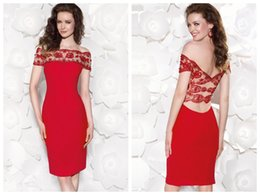 Wholesale Custom Made Red Lycra Crepe Cocktail Dresses Sheer Illusion Off The Shoulder Open Back Knee Length Fomal Homecoming Party Dress
