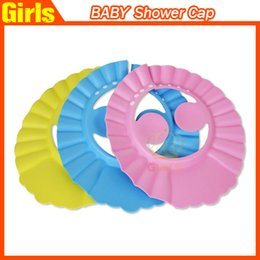 Gorro de ducha de bebé ajustable bebé niños champú gorro de baño sombrero para proteger el oído ojo al lavar el pelo de Seguridad casquillo a prueba de agua