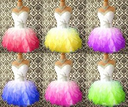 Wholesale New Cheap Mini Short Adorable Homecoming Dresses Ball Gown Sweetheart Beaded Crystals Ruffles Women Cocktail Summer Party Gowns BO8246
