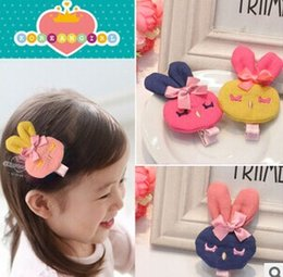 Wholesale Kids Flower Hairpins Boutique Koearn Style Children Hair Accessories Barrettes Baby Girls Big Rabbit Bows With Clips