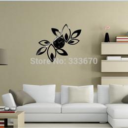 Self Adhesive New Modern Design Fashion Flower Stickers Diy Home Decoration Mirror Wall Clock Sticker Free Shipping