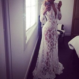 Wholesale Sexy Ladies White Lace Long Sleeve Maxi Club Dresses Deep V Plus Size Dress Elegant Evening Party Vestido High Quality Long Dresses DR5046