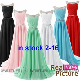 Wholesale IN STOCK Mint Bridesmaid Dresses Cheap Beaded Sheer Scoop Neck Chiffon A Line Maid of Honor Party Gown White Sky Blue Red Pink Black