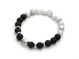 Free Shipping (1pc)New Arrival Lava Stone beads Buddha Men Bracelets Bead 8mm Bracelet 18cm Wholesale and Retail