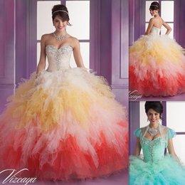 Wholesale 2015 Vestidos Para Debutante Colorido vestido de quinceañera vestidos de bola del amor de Tulle realmente hinchada vestido para la ocasión especial del partido de China