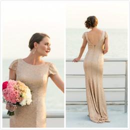 Wholesale Sparking Gold Wedding Dresses Sheath Short Sleeve Capped Sweep Length Sequins vestido de novia Bridal Ball Gowns Party Custom Made
