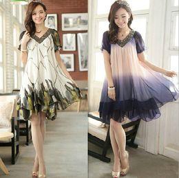 Wholesale New chiffon dresses for women loose casual plus size summer dresses elegant long dress women s clothes clothing M XL