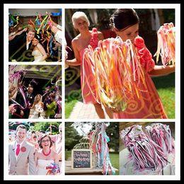 Wholesale wedding colorful ribbon wand with bell wedding confetti stream ribbon sticks magic wands fairy stick wedding party decoration