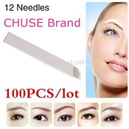 Wholesale 100pcs Famous Brand CHUSE S12 Permanent Makeup Blade Manual Eyebrow Tattoo Pen Blades Needles High Quality