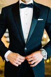 Wholesale One Button Side Slit Classic Fit Notch Lapel Groom Tuxedos Wedding Party Groomsman Suit Wedding Party Suit Jacket Pants Tie Girdle