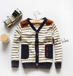 Wholesale Hot Sale Spring Korean children Clothing British style boys and girls V neck stripe knitted cardigan
