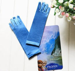 Wholesale FROZEN blue gloves ELSA ANNA princess wig gloves points finger gloves drop shipping J5