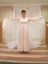Wholesale Stunning Vintage Bohemian Wedding Dress White Boho Angel Wing Chiffon dress With Cloak Chiffon See Through Bridal Gowns Custom Made