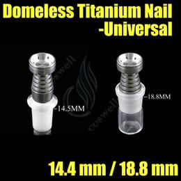 Universal Domeless Titanium Clous 14.4 18.8 mm Fonction double GR2 cire Huile narguilé fumeur verre bulleuse tuyaux d'eau bong bongs ash dab rigs