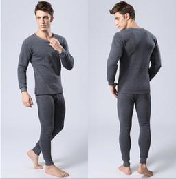 Atacado- Mens Inverno Quente Underwear térmica Mens Long Johns Sexy Preto Underwear térmica Define espessura além Velvet Long Johns For Man