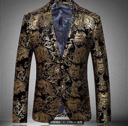 2015 Hommes Blazers blazer d'or pour les hommes de costume 2015 d'automne et d'hiver de haute qualité des marques de velours hommes Marié costume plus blazer homme mince