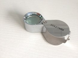 Wholesale Christmas Promotion Mini Jewelry Loupe Magnifier Glass X mm Silver Magnifying Glasses Beauty Health Equipment