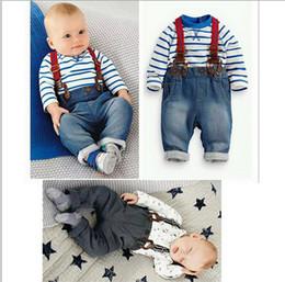 Wholesale baby clothing set cool boys suit t shirt pant straps Autumn and winter infant garment kids clothes wear