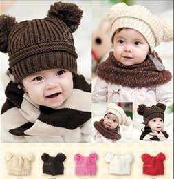 Wholesale Infant Baby Solid Color Double ball Knitted Hats Autumn Winter Single Caps Color Kids Accessories G148