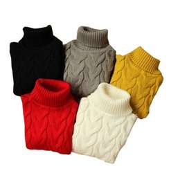 Wholesale 2015 Spring Autumn Children Sweaters Solid High Quality Turtleneck Thickening Sweater Boy Girl Kids All match Pullover sweaters Colors