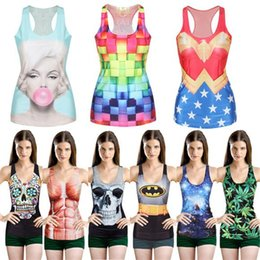 Wholesale hot sell Women Multi Color Gothic Punk Clubwear T Shirt Print Tank Top Vest Blouse DHL