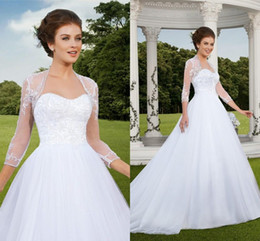 Wholesale New Sweetheart Lace Bridal Ball Gowns With Jackets Plus Size Dresses Maternity Backless Vintage Wedding Dresses Lace Sexy Long Train