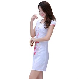 Wholesale sexy new spring and summer dress retro cotton jacquard improved short cheongsam dress everyday female temperament